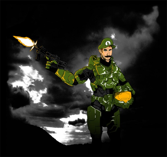 bottom itsame 585x550 Luigi is Master Chief in this limited edition T Shirt