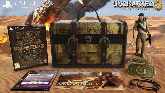 Uncharted 3: Drake&#039;s Deception Collector&#039;s Edition included a Nathan Drake figurine, his replica belt buckle, and others all housed inside a traveling chest for $100.